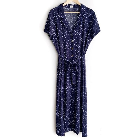 Wilfred Midi Shirt Dress, Navy & White, L